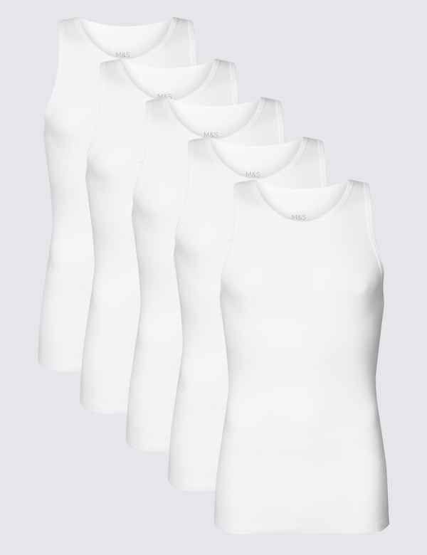 5 Pack Pure Cotton Sleeveless Vests | M&S Collection | M&S