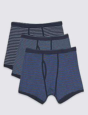 3 Pack Pure Cotton Striped Trunks