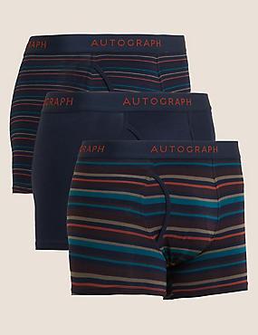 3pk Premium Cotton Supersoft Striped Trunks