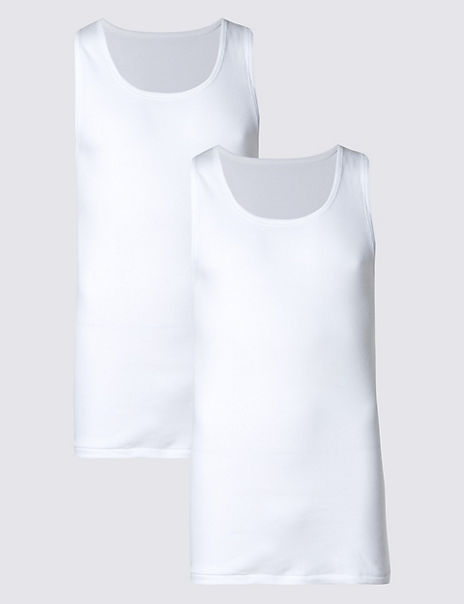 2 Pack Pure Cotton Sleeveless Vests with StayNEW™
