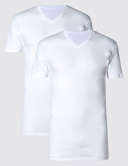 2 Pack Pure Cotton V-Neck Vests with StayNEW™