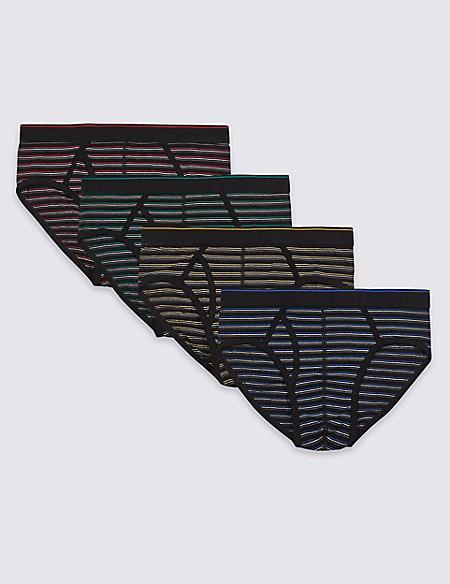 4 Pack Cotton Rich Striped Stretch Briefs