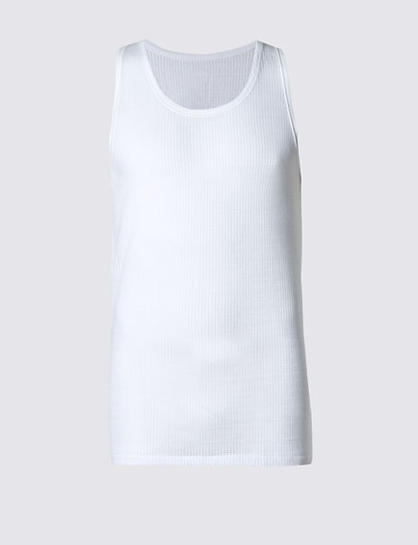 2 Pack Pure Cotton Cellular Vests with StayNEW™