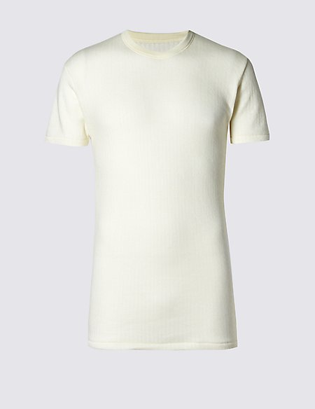 Short Sleeve Ribbed Thermal Vest with Merino Wool