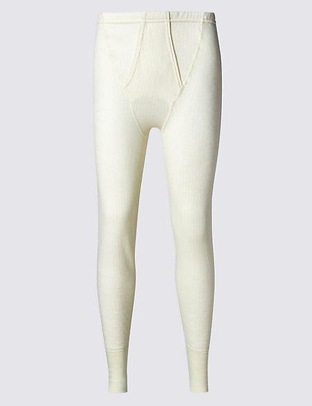 Ribbed Thermal Long Pants with Merino Wool