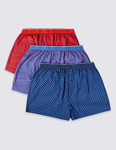 3 Pack Pure Cotton Cool & Fresh™ Spotted Boxers with StayNEW™