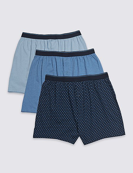 3 Pack Pure Cotton Geometric Print Boxers