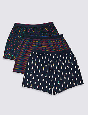 3 Pack Pure Cotton Penguin Print Boxers