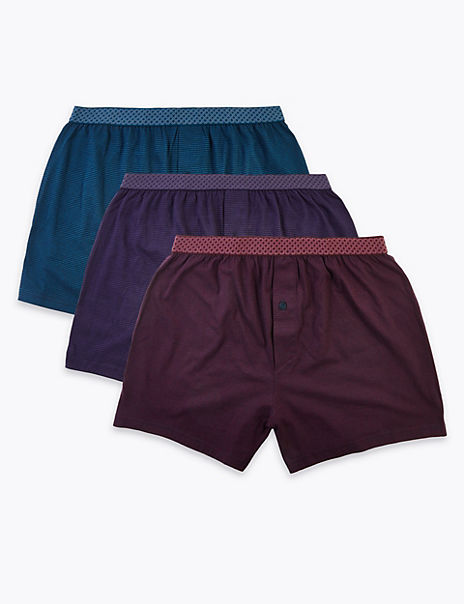 3 Pack Cotton Cool & Fresh™ Striped Boxers