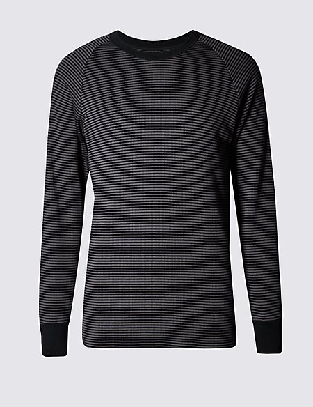Long Sleeve Feeder Striped Cotton Rich Thermal Vest