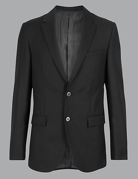 Black Tailored Fit Wool Jacket
