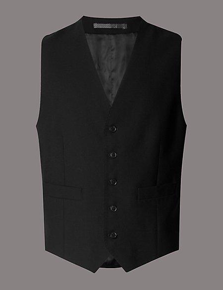 Black Tailored Fit Wool Waistcoat