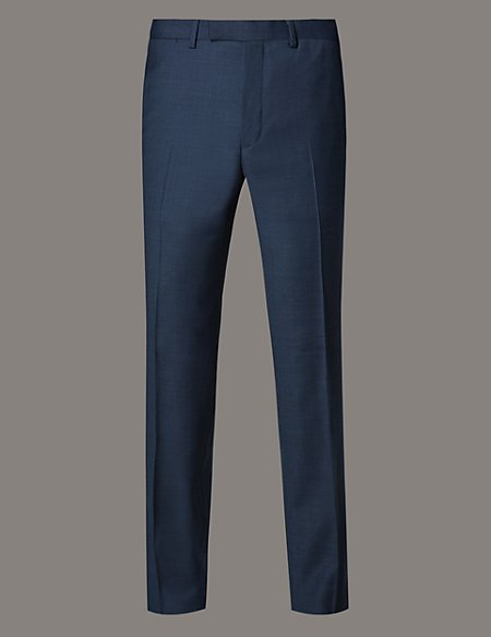 Checked Tailored Fit Flat Front Trousers