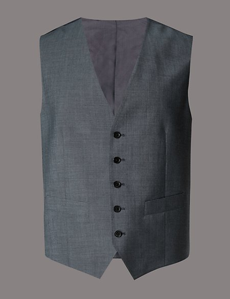 Grey Tailored Fit Wool Waistcoat