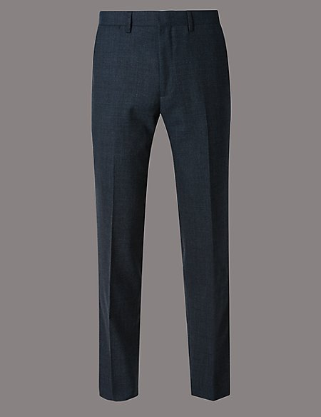 Blue Textured Tailored Fit Wool Trousers