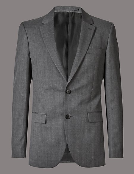 Grey Tailored Fit Italian Wool Jacket