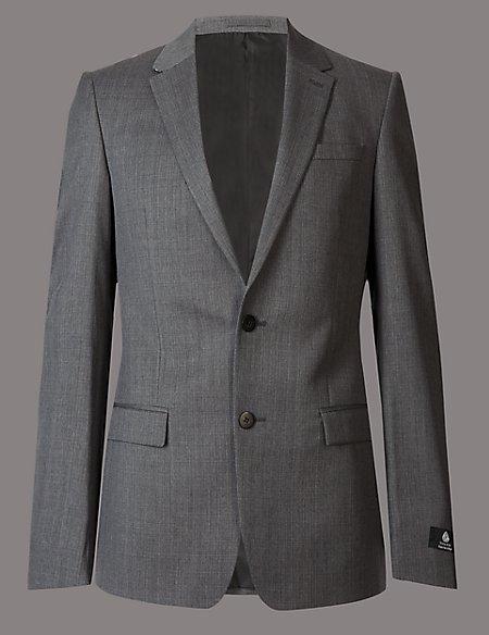Grey Slim Fit Italian Wool Jacket