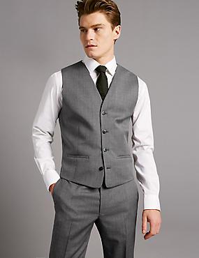 Grey Tailored Fit Italian Wool Waistcoat