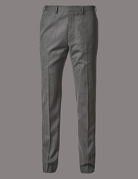 Grey Tailored Fit Italian Wool Trousers