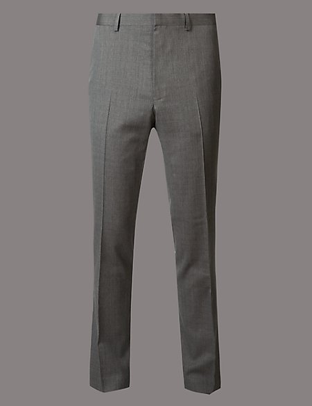 Grey Slim Fit Italian Wool Trousers