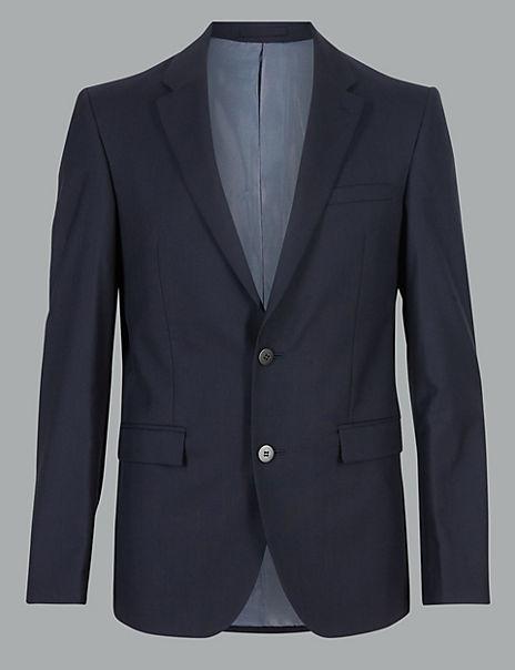 Navy Tailored Fit Italian Wool Jacket