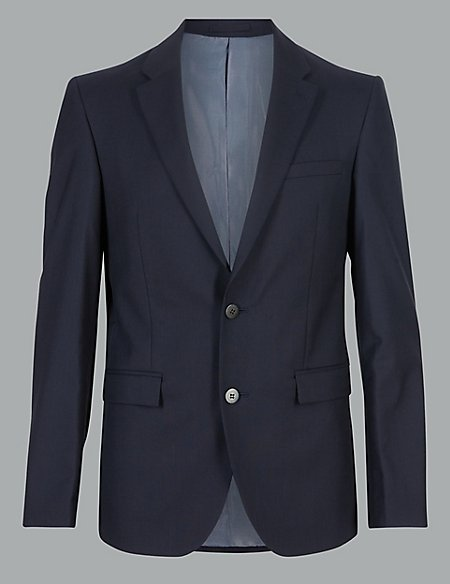 Navy Tailored Fit Italian Wool Jacket