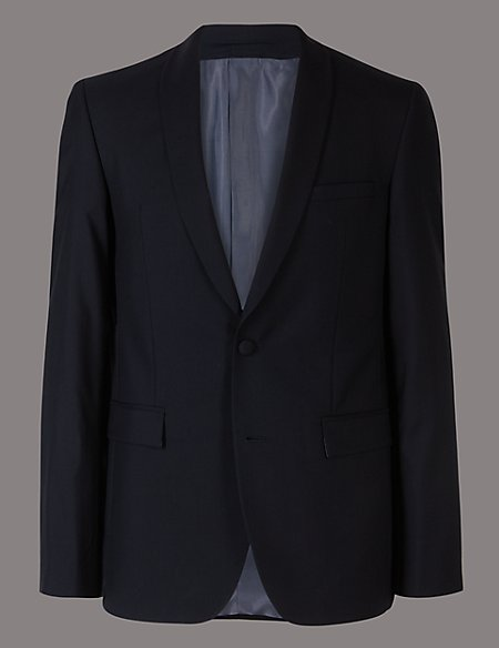 Navy Tailored Fit Shawl Collar Wool Jacket