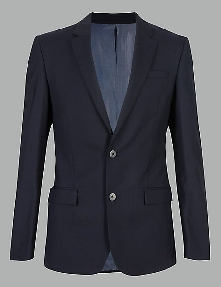 Navy Slim Fit Italian Wool Jacket