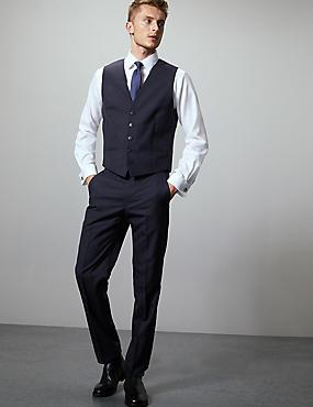 Navy Tailored Fit Italian Wool Waistcoat