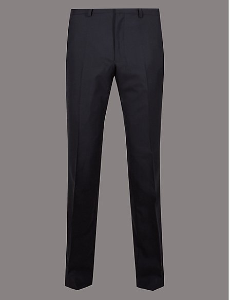 Navy Tailored Fit Italian Wool Trousers