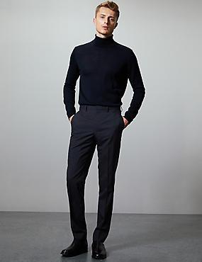 Navy Slim Fit Italian Wool Trousers