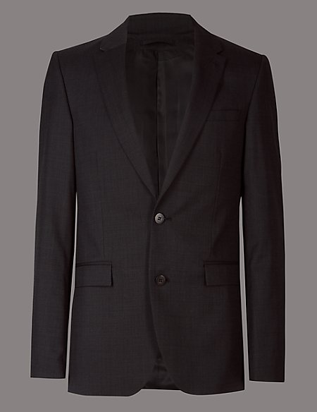 Charcoal Tailored Fit Italian Wool Jacket