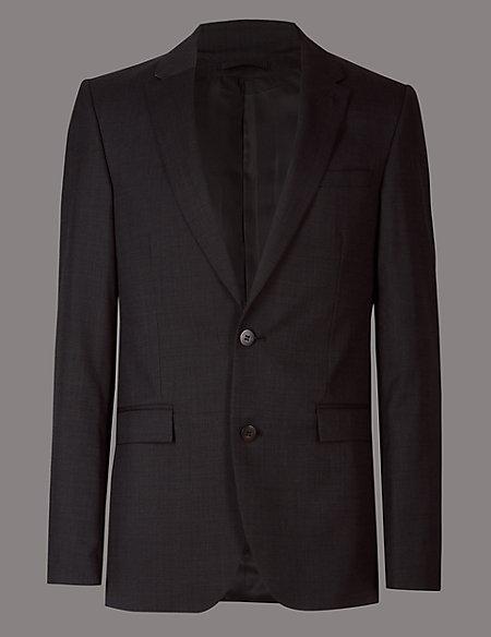 Charcoal Slim Fit Italian Wool Jacket