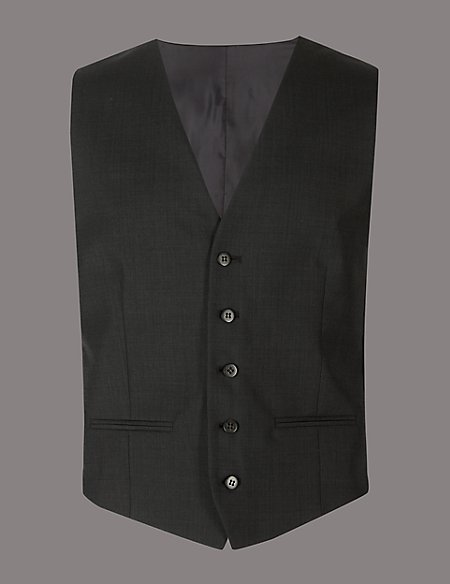 Charcoal Tailored Fit Italian Wool Waistcoat