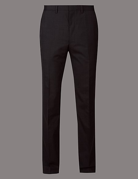 Charcoal Slim Fit Italian Wool Trousers