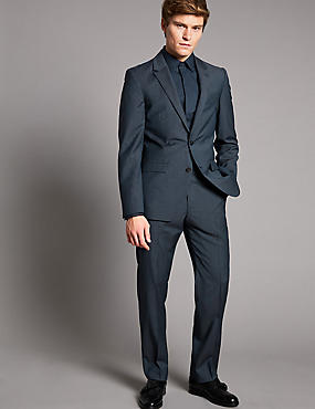 Checked Tailored Fit Wool Suit