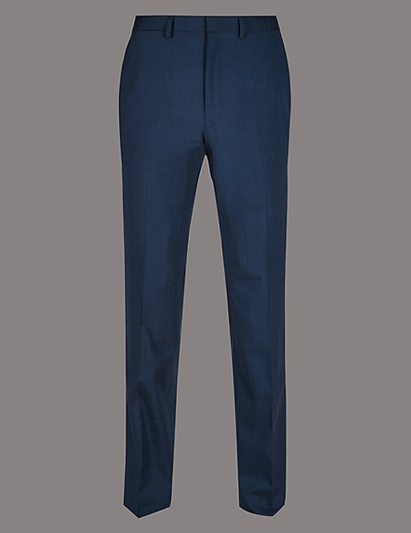 Tailored Fit Wool Rich with Stretch Trousers
