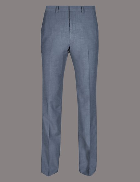 Blue Tailored Fit Wool Trousers