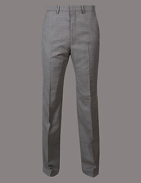 Grey Checked Tailored Fit Wool Trousers