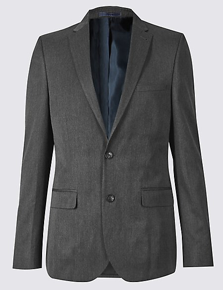 Grey Modern Slim Fit Jacket