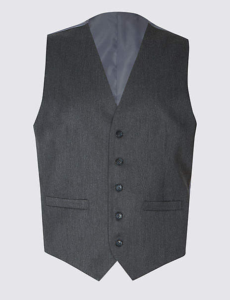 Grey Regular Fit Waistcoat