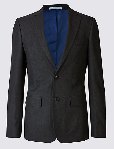 Charcoal Textured Slim Fit Jacket