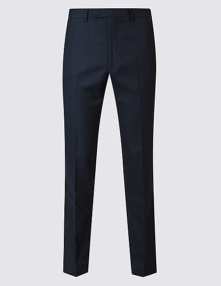 Navy Textured Slim Fit Trousers
