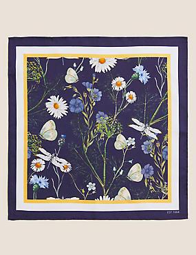 Silk Daisy Dragonfly Print Pocket Square