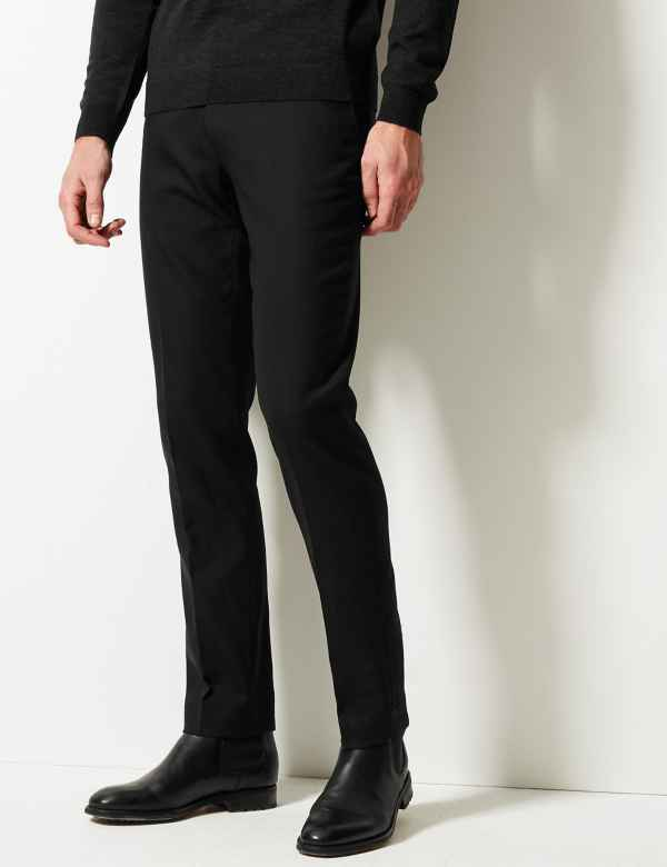 p60126758: Black Slim Fit Trousers