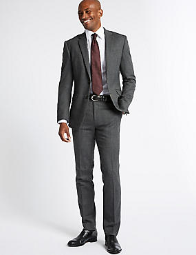 Grey Textured Slim Fit Suit