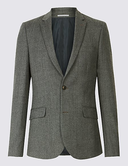 Grey Textured Modern Slim Fit Jacket