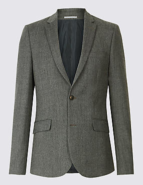 Grey Textured Modern Slim Fit Jacket