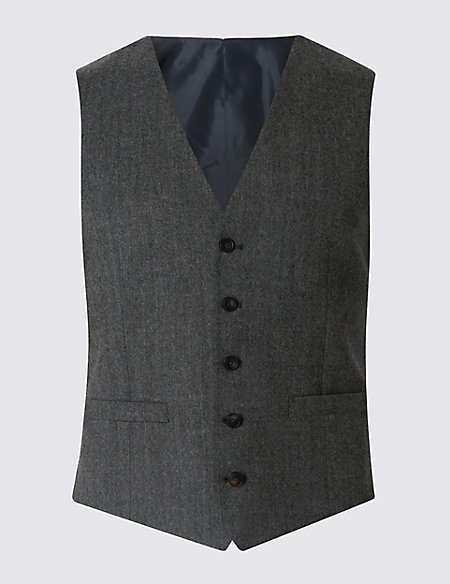 Grey Textured Tailored Fit Waistcoat