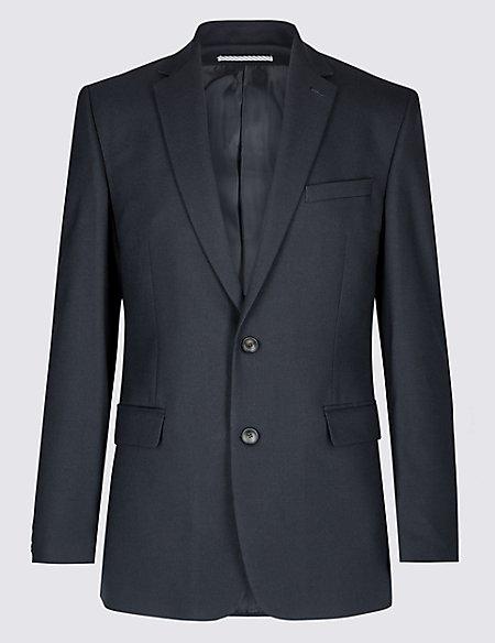 Big & Tall Navy Textured Slim Fit Jacket